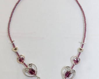 Necklace plastron Amethyst Swarovski Crystal adjustable nickel free