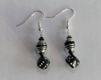 Crystal earrings are Swarovski black and silver nickel and lead free