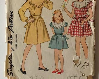 Simplicity 1700 Girls Dress Size 6 Vintage 1940's