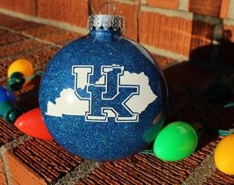 University of Kentucky Ornament ~ Kentucky Wildcats Ornament ~ UK Christmas Gift Ornament ~ UK ~ Glitter Ornament ~ Personalized Ornament