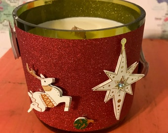 Glittery Fun Christmas Candle  Hand-Poured Soy Wax Candle