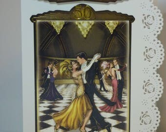 Golden Wedding Anniversary Greeting Card 1920s style