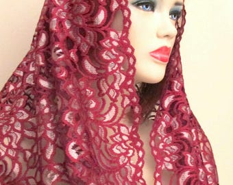 Traditional veil  Infinty Burgundy Gold Lace Chapel Veil Catholic Veils
