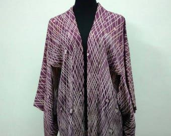 Japanese haori kimono purple silk kimono jacket /kimono cardigan/vintage kimono robe/#029