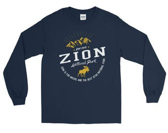Zion Utah National Park Long Sleeve T-Shirt, Mountain Shirts, camping shirts, hiking shirts, Utal t shirts, nature shirts, america parks