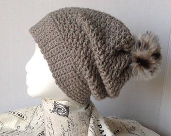 Ladies hat with fur Pom Pom, ladies slouch hat