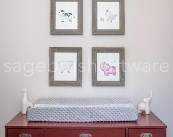 Digital Farm Nursery Art - Baby Gift - Farm Animal Prints - Children Art - Girls Room Decor, Boys Room Wall Art - Watercolor Print Set