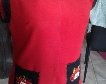 Red patterned tunic