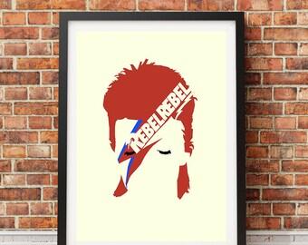 DAVID BOWIE - Ziggy Stardust 'Rebel Rebel' Poster