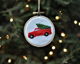 Farm Truck with Christmas Tree Hand Embroidery Ornament-Christmas Tree Truck-Vintage Truck-Red Truck-Christmas Ornament-Farmhouse Christmas