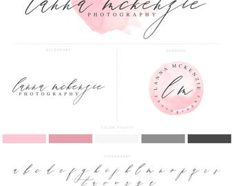 Logo Design Custom, Logo & Watermark, Logo Branding Package, Pink, Watercolour Logo, Calligraphy Logo, Brand Kit 009