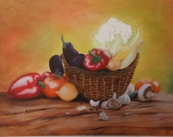 Autumn abundance /Basket full with vegetables