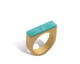 Buddha Eyes Ring In Gold and Turquoise