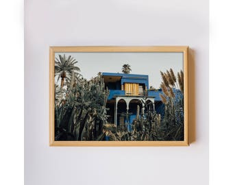 Travel photography Marrakech Morocco Majorelle Gardens colorful house photo home decor photo art print downloadable printable wall art