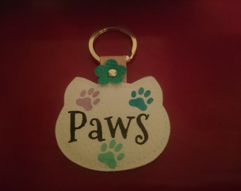 Cat Shaped Personalised Key Ring !