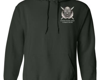 US Army Combat Diver Embroidered Hooded Sweatshirt-7681