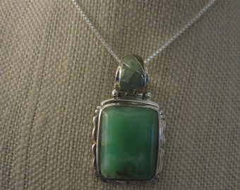 Natural Chrysoprase Pendant in Sterling Silver Setting