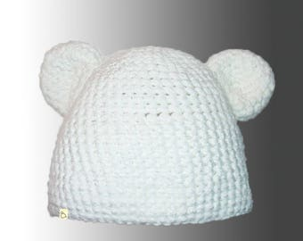 Handmade Plain or Stripy Custom Crochet Warm Winter Hat with Ears Bespoke Beanie Hat