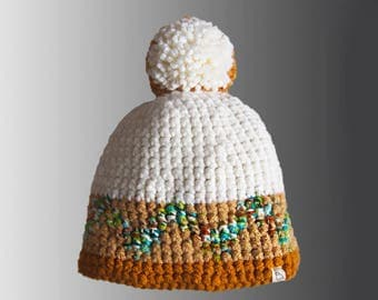 Handmade Stripy Zigzag Pattern Crochet Warm Winter Bobble Hat Color Block Pompom Hat