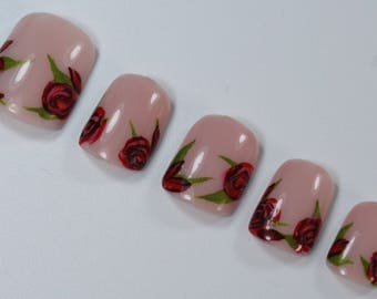 10 Elegant Full Bloom Roses and Buds Nails, Press On Nails, Glue on Nails, Full Coverage Nails