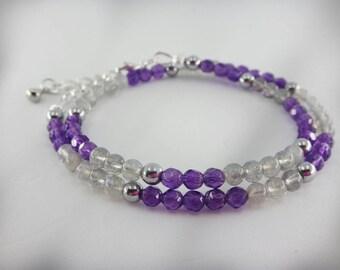 Amethyst Bracelet Beaded Wrap Beaded Choker February birthstone Jewelry Double Wrap Gemstone Bracelet Ultra Violet  Purple Bracelet 2 in 1
