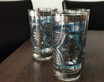 RARE Culver Glasses, Set of 4 Blue and Silver