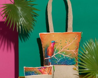 Southern Carmine Handpainted Summer Tote Bag and Pouch Set | Handmade from the Philippines