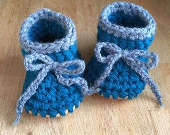 Teal Blue and Grey Bootie Soft Sole Shoe Crochet Slipper Kid Slipper Baby Slipper Shower Gift Baby Shower Gift Leather Sole Baby Keepsake