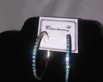 Turquoise Blue Hoop Earrings