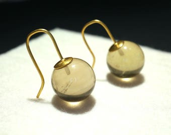 Ear jewellery 22k Gold with Lemoncitrin