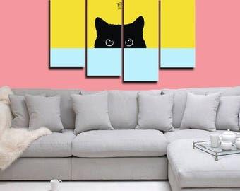 Cat Canvas, 4 panel canvas