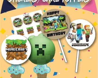 Minecraft Cake Toppers / Stickers, 12 per sheet Instant Download, Gaming, Birthday Party, Mine craft, Centre Piece, Unlimited Prints