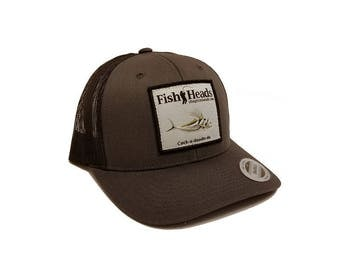 FishHeads Roosterfish Fishing Trucker Hat - Snapback Hat with Woven Patch