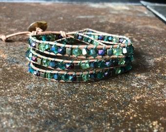 Wrap Bracelet, Beaded Wrap Bracelet, Leather Wrap Bracelet, Triple Wrap Bracelet, Green Wrap Bracelet, Bracelet