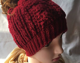 Cabled Messy Bun Beanie, Crochet Hat, Ponytail Beanie