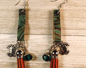 Leather earrings, cow earrings, drop earrings, earrings with tassel