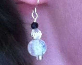 Sparkly Glass and Silver Earrings