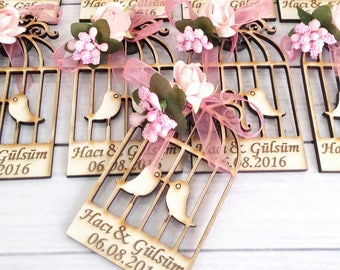 10 Wooden Bird Cage Magnet Wedding Favors - Laser Engraved Personalized Favors- Laser cut magnets- Wooden Favors- Save the Date- Thank you