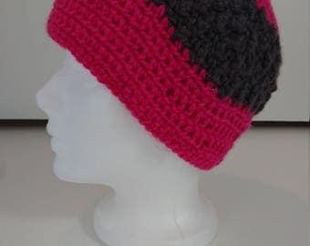 Womans Handmade bright pink  Crochet Bobble stitch hat