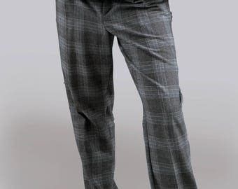 Men's suit checked trousers