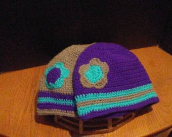 Crochet beanie style hats with hole for ponytail