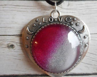 Pink and white Heart Necklace