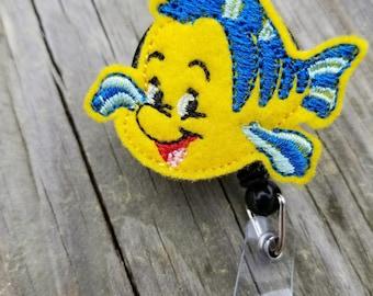 Flounder Badge Reel Little Mermaid