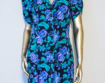 Purple and Green floral button up vintage dress