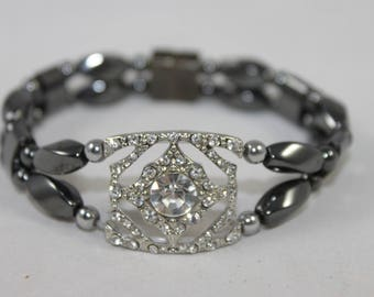 Silver Tone with Rhinestones High Quality Magnetic Bracelet