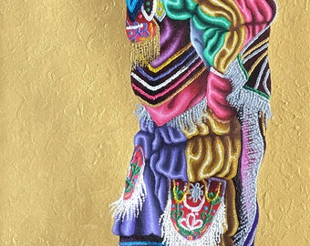 Guatemalan Oil Painting - The Dance Of The Little Bull (Gold)