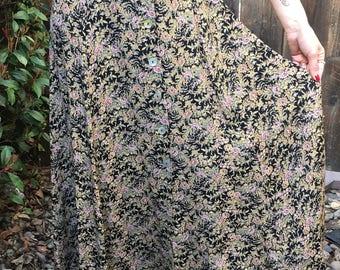 Floral Button Down Maxi Skirt
