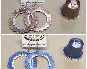 Vortex earrings with nespresso capsules