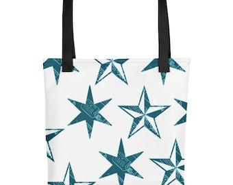 Cute star-shaped vintage microphone pattern tote bag