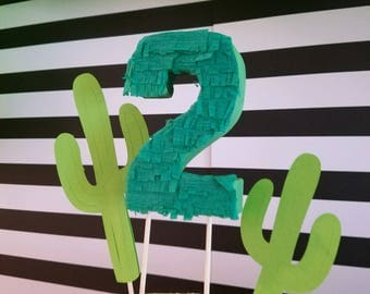 Fiesta Cactus Birthday Cake Toppers